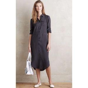 Maeve Tie Waist Roll Cuff Midi Pocket Shirt Dress
